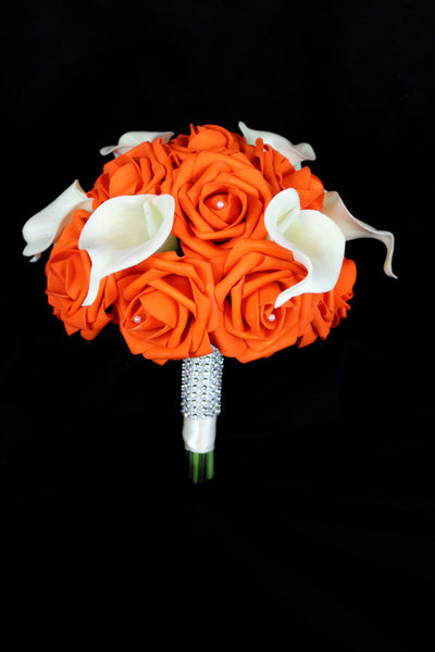 Orange Rose & Calla Lily Bridesmaids Bouquet