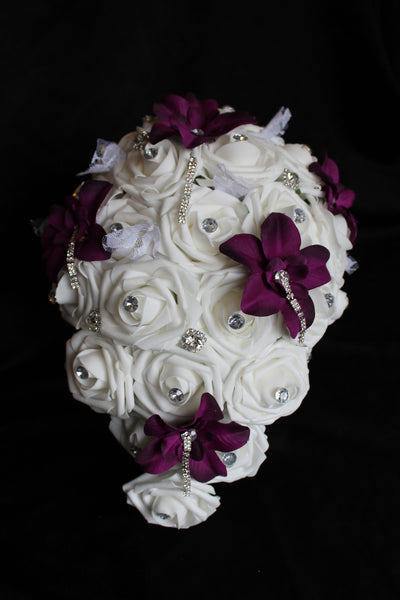 Cascading Rose & Orchid Wedding Bouquet Collection