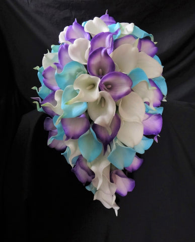 A Cascading Purple and Aqua Calla Lily Wedding Bouquet Collection