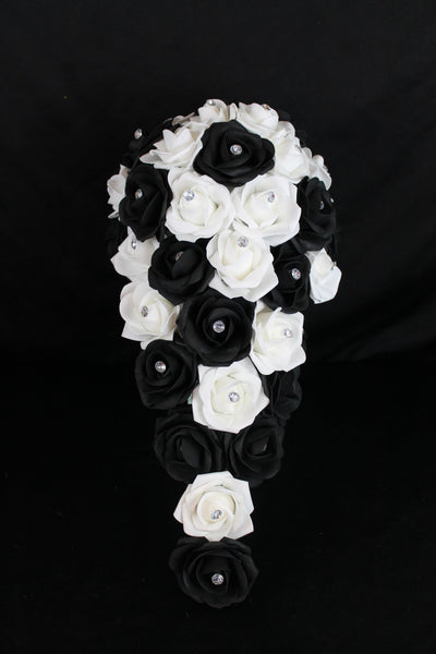 Classic Cascading Black and White Wedding Bouquet Collection