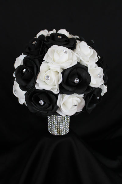 Black and white rose bridesmaids bouquet