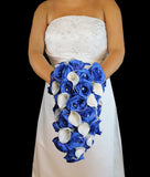 Blue Ivory Cascading Rose & Calla Lily Wedding Bouquet Collection