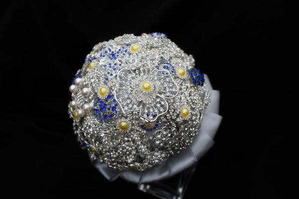 Yellow, Silver and Blue Brooch Bouquet Collection