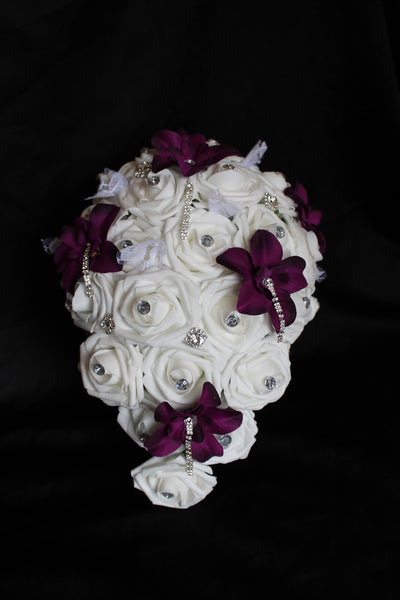 Cascading Rose & Orchid Brides Bouquet