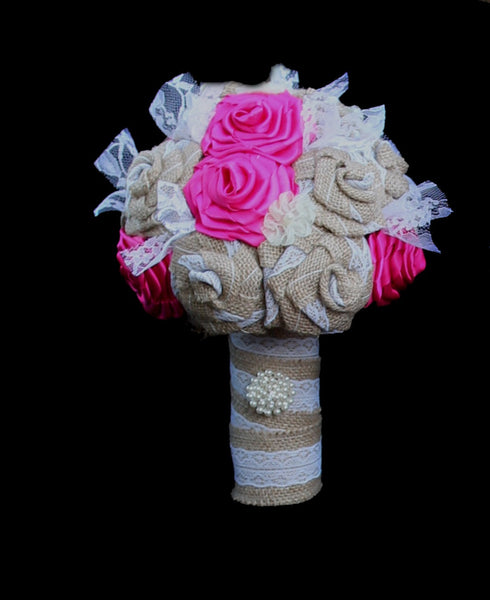 Burlap & Fuchsia Ribbon Bouquet Collection