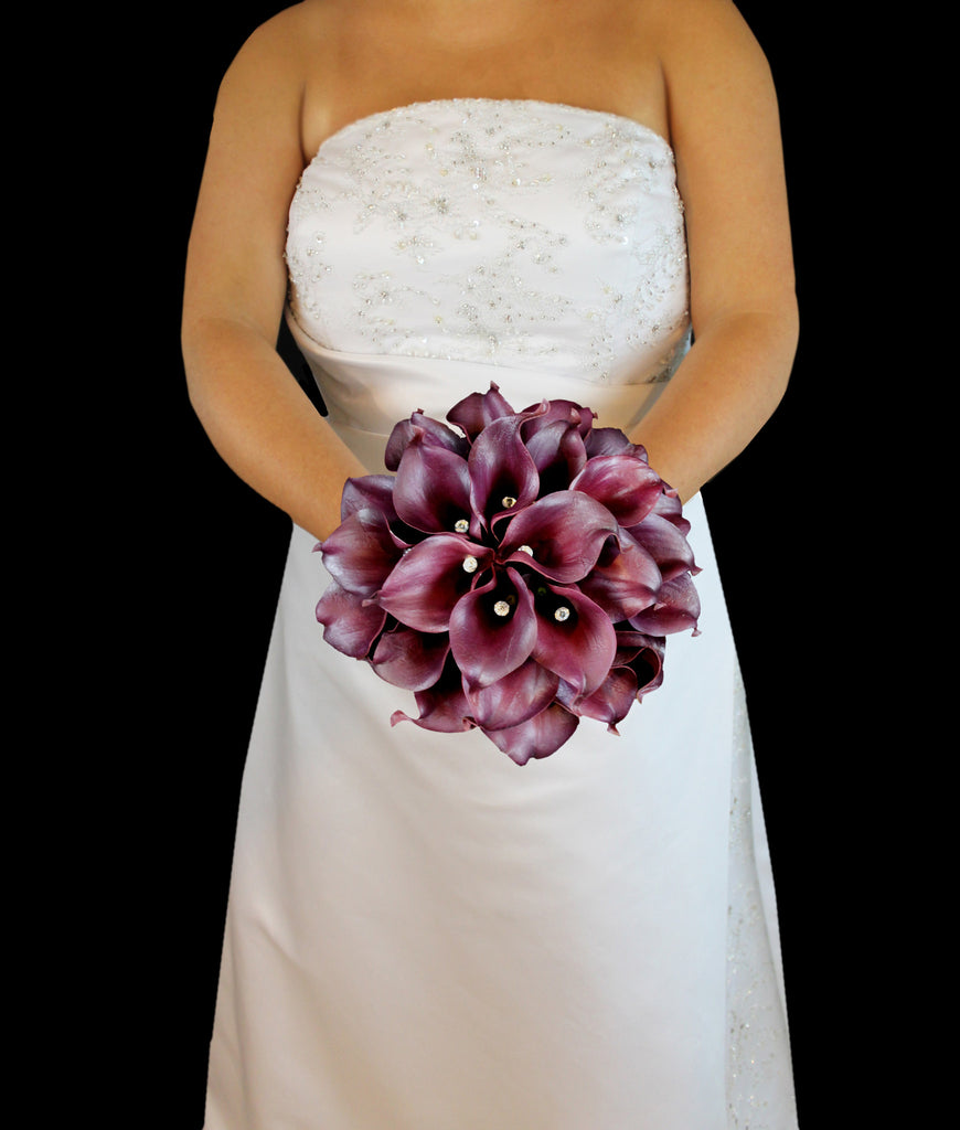 Eggplant Wedding Flowers: Eggplant Calla Lily Wedding Bouquet Collection