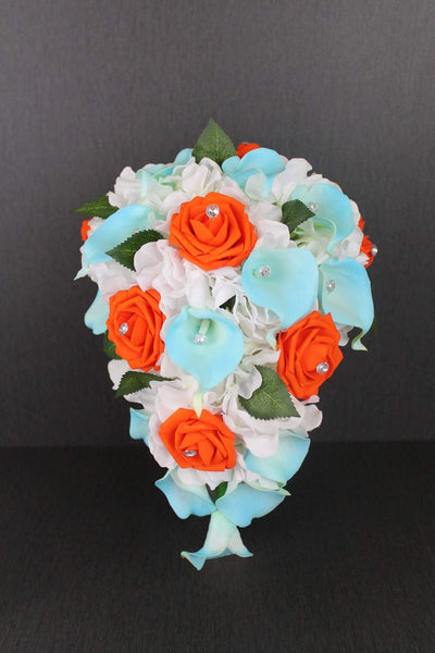 Aqua Blue & Orange Cascading Brides Bouquet