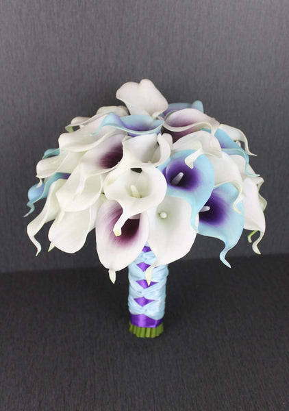 A Turquoise & Purple Calla Lily Wedding Bouquet Collection