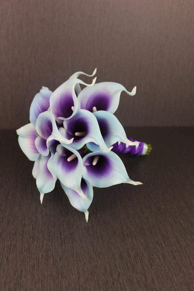A Turquoise & Purple Calla Lily Bridesmaids Bouquet