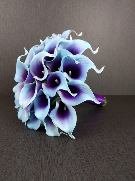 Aqua Blue & Purple Calla Lily Wedding Bouquet Collection