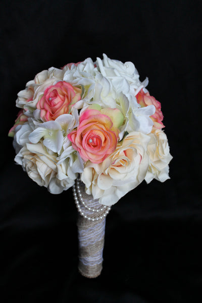 rustic wedding bouquet, wedding bouquet, vintage wedding bouquet, rose wedding bouquet, burlap wedding bouquet