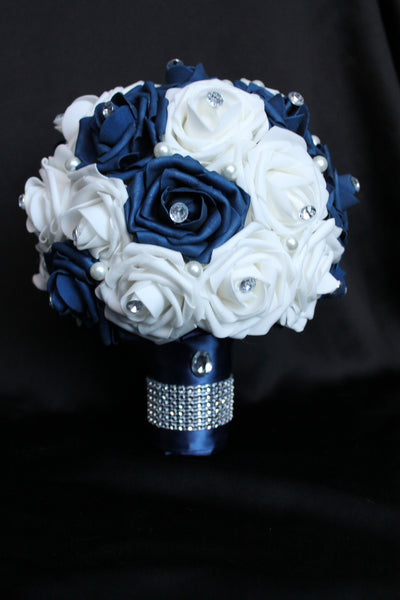 Navy and white Rose Brides Bouquet