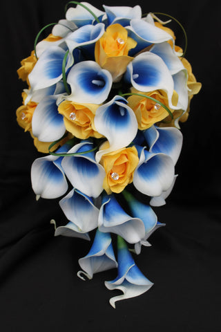 Cascading yellow Rose & blue picasso Calla Lily Wedding Bouquet Collection