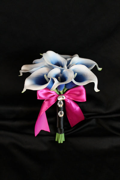Blue and white Calla Lily Jr/Toss Bouquet