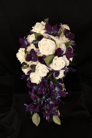 Cascading Dendrobium Orchid and Ivory Rose Wedding Bouquet Collection