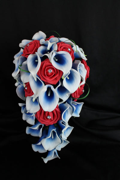 Cascading Red, White and Blue Brides Bouquet