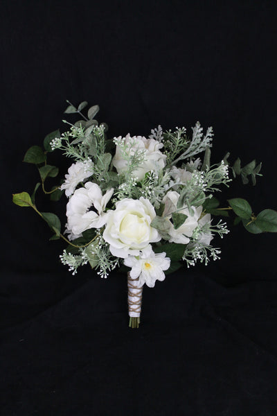 A White Forest Rose and Green Wedding Bouquet Collection