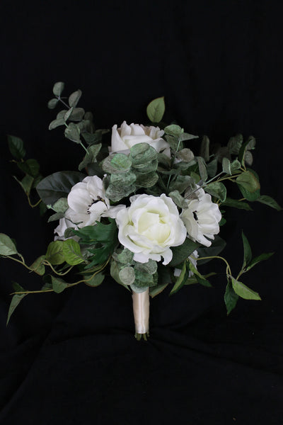 A Forest Rose and Greenery Brides Bouquet