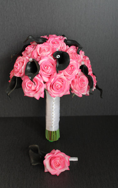 Pink Rose Black Calla Lily Wedding Bouquet Collection