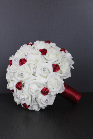 Burgundy and Ivory Rose Brides Bouquet