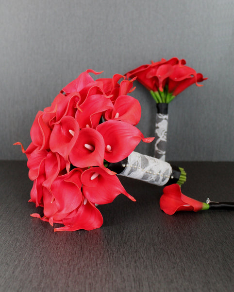 Bright Red Calla Lily Wedding Bouquet Collection