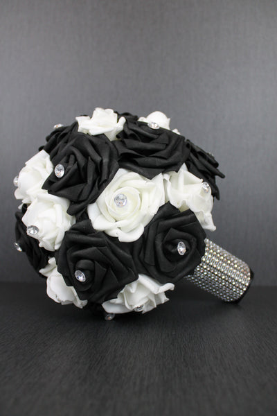 Classic Black and White Rose Brides Bouquet