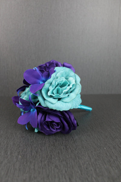 Purple & Turquoise Rose Bridesmaids Bouquet