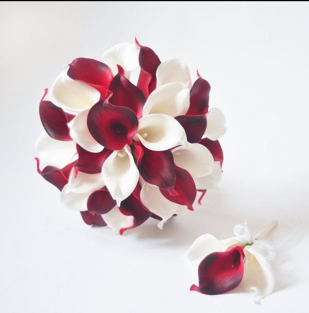 A Red And White Calla Lily Wedding Bouquet Collection Detail