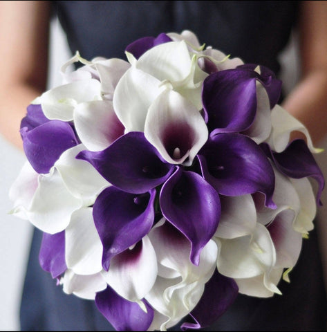 A White and Purple Calla Lily Wedding Bouquet Collection