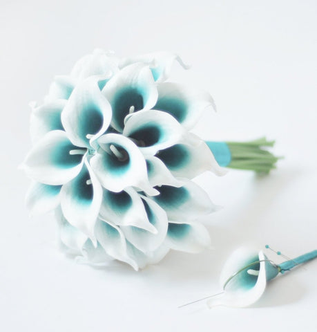 A Teal Picasso Calla Lily Wedding Bouquet Collection