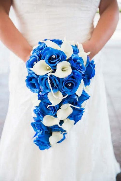 Blue Ivory Cascading Rose & Calla Lily Brides Bouquet
