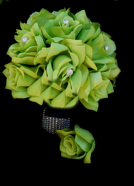 Green Roses Bridesmaids Bouquet