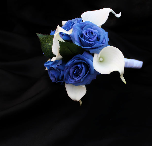 blue and white wedding bouquet,bridesmaids bouquet, calla lily and rose wedding bouquet, artificial wedding bouquet