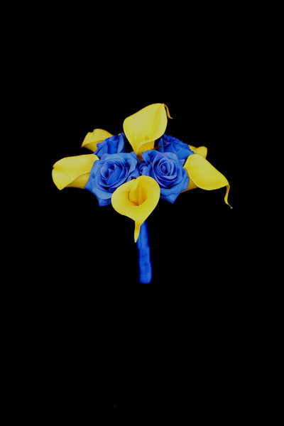 Blue & Yellow Rose & Calla Lily Bridesmaids Bouquet