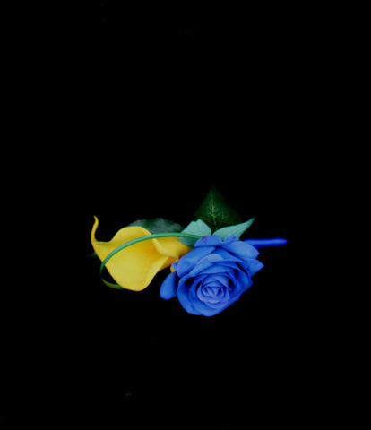 Blue & Yellow Rose & Calla Lily Boutonniere