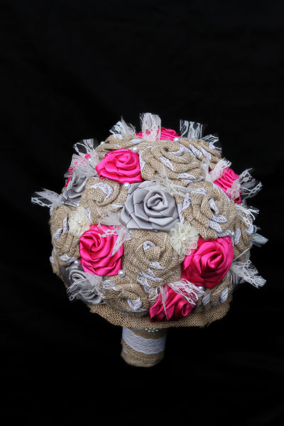 Burlap & Pink Ribbon Bouquet Collection