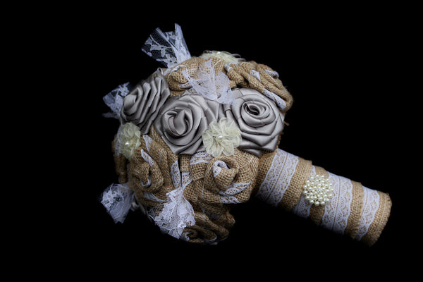 Burlap & Silver Ribbon Bouquet