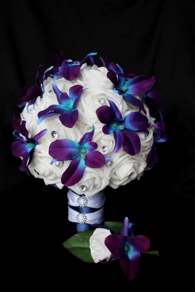 Hydrangea And White Rose Bouquet