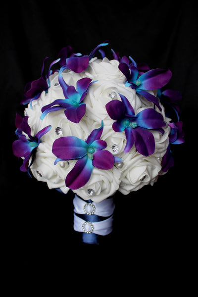 wedding bouquets, rose wedding bouquet, dendrobium orchid bouquet, purple dendrobium orchids