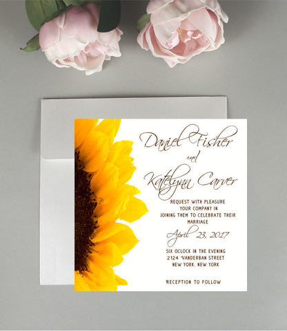 A Sunflower Wedding Invitation