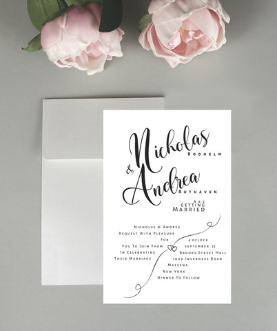 About Two Hearts Wedding Invitation