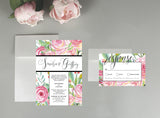 A Floral Backdrop Wedding Invitation Set