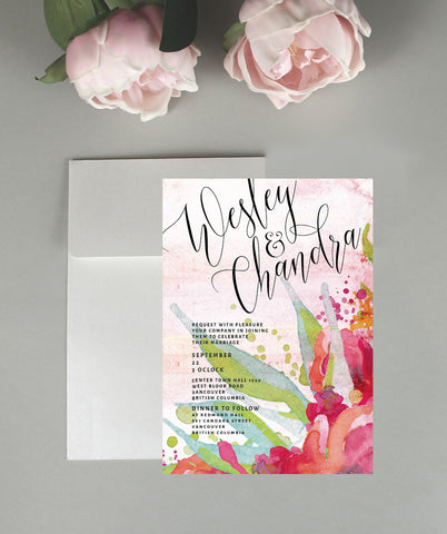 A Water Color Wedding Invitation Set