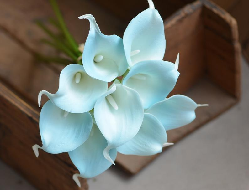 Egg Blue Turquoise real touch calla lily