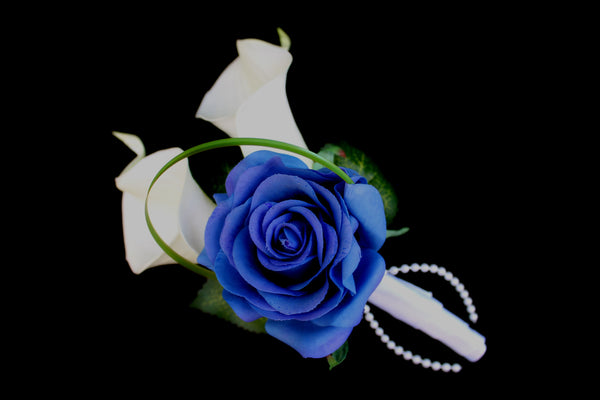 Blue Rose & Calla Lily Pinned Corsage