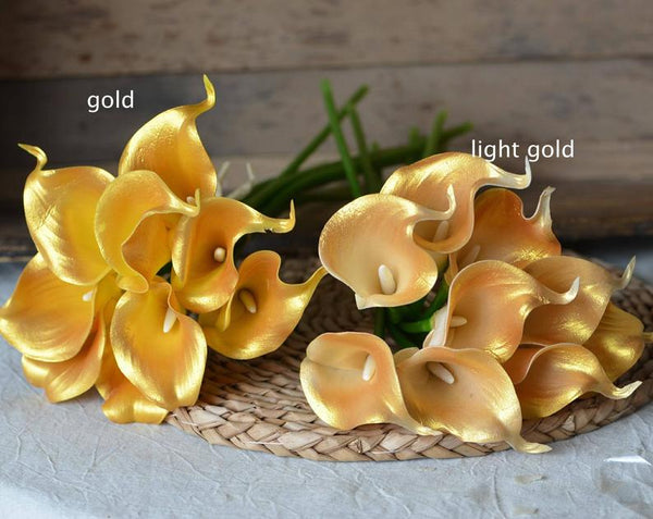 Gold / Light Gold real touch calla lily