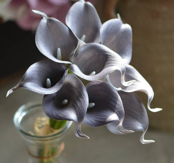 Grey real touch calla lily