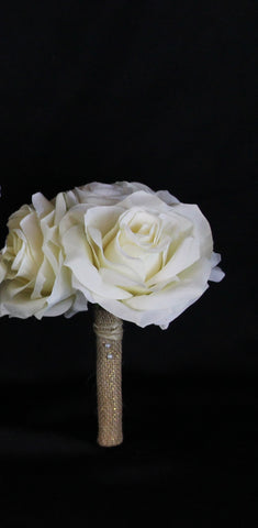 A Rustic cream and Ivory Rose Jr. Bouquet