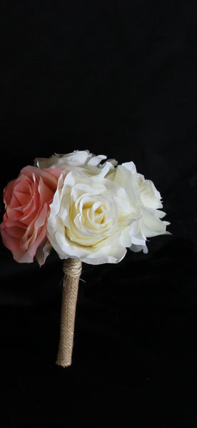 A Rustic Blush Pink and Ivory Rose Jr. Bouquet