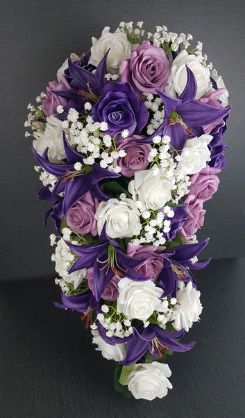 A Purple Cascading Rose and Lily Wedding Bouquet Collection